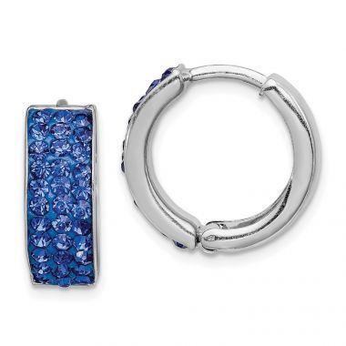 Quality Gold Sterling Silver Indigo Blue Preciosa Crystal Hinged Hoop Earrings