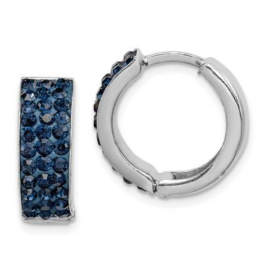 Quality Gold Sterling Silver Dark Blue Preciosa Crystal Small Hinged Hoop Earrings