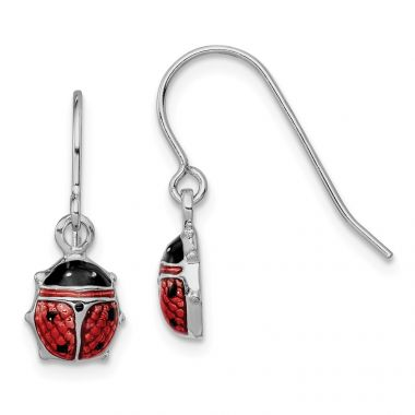 Quality Gold Sterling Silver Rhodium Enameled Lady Bug Dangle Earrings