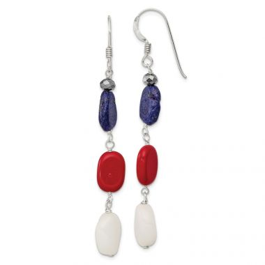 Quality Gold Sterling Silver Red Coral Crystal White Jade Lapis Dangle Earrings