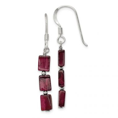Quality Gold Sterling Silver Three Stone Garnet Dangle Earrings