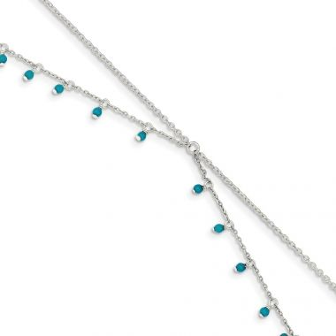 Quality Gold Sterling Silver Turquoise Double Chain Anklet Bracelet