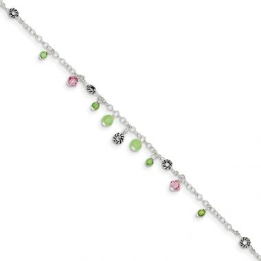 Quality Gold Sterling Silver Pink Crystal Green Quartz & Peridot Bead Ankle Bracelet