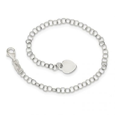 Quality Gold Sterling Silver Heart Charm Childs Bracelet