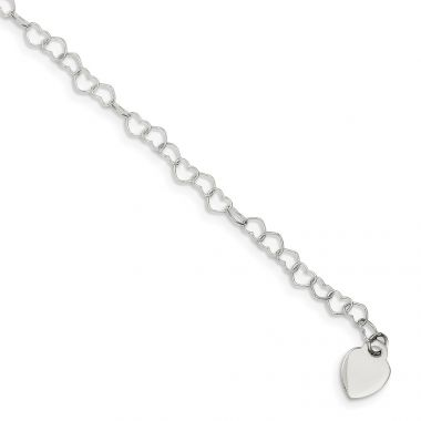 Quality Gold Sterling Silver Heart Link Childs Bracelet