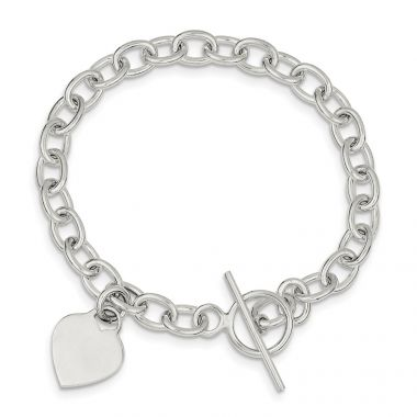 Quality Gold Sterling Silver Dangling Heart Charm Bracelet