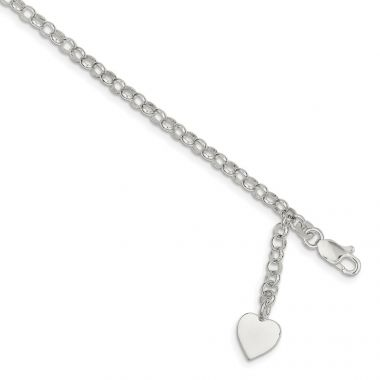 Quality Gold Sterling Silver Heart Charm Rolo Bracelet