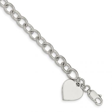 Quality Gold Sterling Silver Polished Heart Charm Fancy Link Bracelet