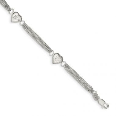 Quality Gold Sterling Silver Heart with Love Bracelet