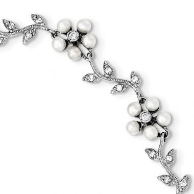 Quality Gold Sterling Silver Rhodium FW Cultured Pearl and CZ Floral Bracelet