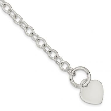 Quality Gold Sterling Silver Heart Disc Toggle Bracelet
