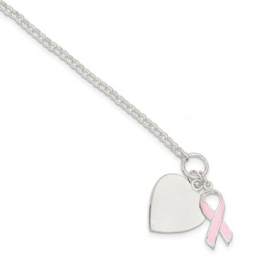Quality Gold Sterling Silver Fancy Heart with Pink Ribbon Bracelet