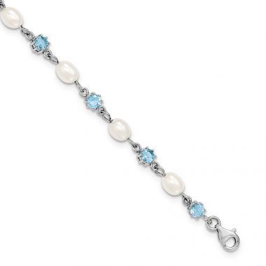 Quality Gold Sterling Silver Rhodium Blue CZ FW Cultured Pearl Bracelet