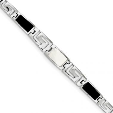 Quality Gold Sterling Silver Synthetic Onyx & Mother of Pearl Greek Key Bracelet