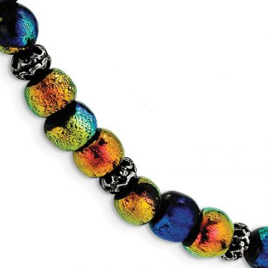 Quality Gold Sterling Silver Dichroic Glass Beaded 8in Toggle Bracelet