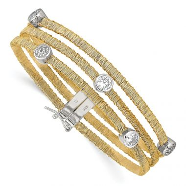 Quality Gold Sterling Silver Flash Gold-Plated CZ Bracelet