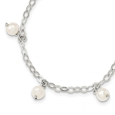 Quality Gold Sterling Silver White Cultured FW Pearl Bracelet