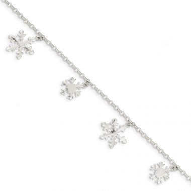 Quality Gold Sterling Silver Diamond-Cut Snowflake Bracelet