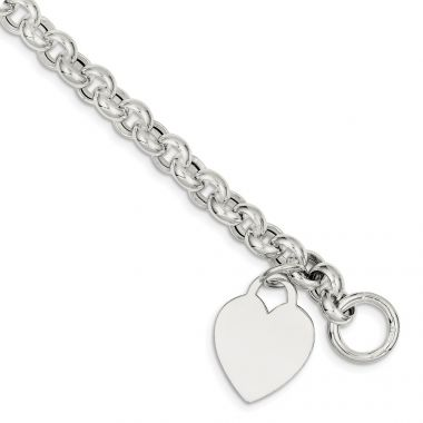 Quality Gold Sterling Silver Heart Toggle Bracelet