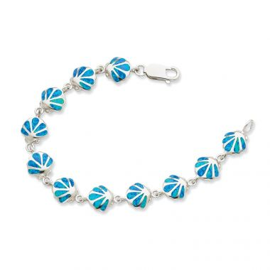 Quality Gold Sterling Silver 7in  Blue Opal Inlay Shell Bracelet