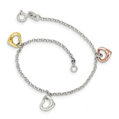 Quality Gold Sterling Silver Polished & Flash Gold-plated Heart Bracelet