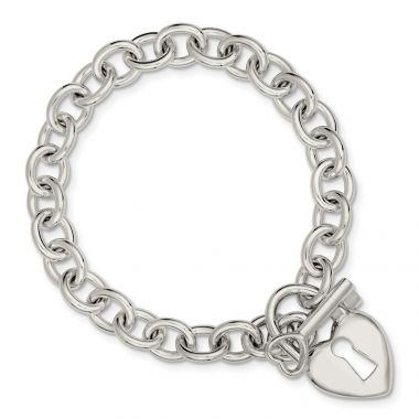 Quality Gold Sterling Silver Polished Heart and Key Bracelet