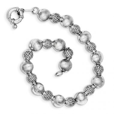 Quality Gold Sterling Silver Rhodium Plated Textured Bead Bracelet