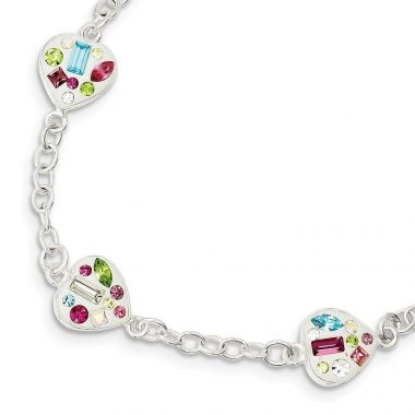 Quality Gold Sterling Silver Stellux Multi Color Crystal Heart Bracelet