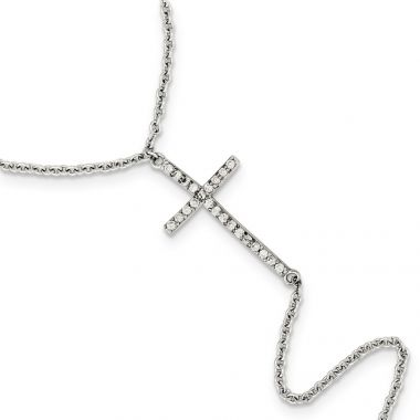 Quality Gold Sterling Silver Polished CZ Cross Attached Ring Bracelet