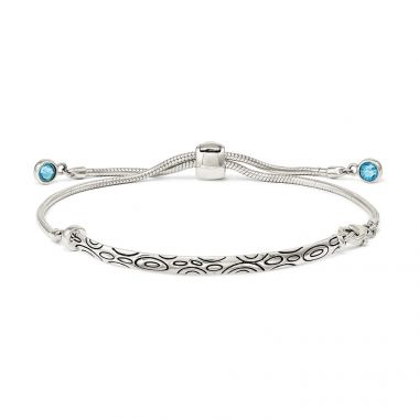 Quality Gold Sterling Silver Blue Swarovski Crystal Rd Bezel Adjustable Bracelet