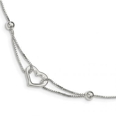 Quality Gold Sterling Silver Heart  Box Chain Bracelet