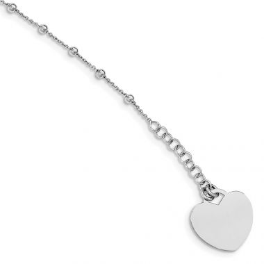 Quality Gold Sterling Silver Rhodium-plated Beaded with Heart Charm Bracelet