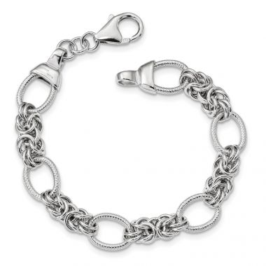 Quality Gold Sterling Silver Polished & Textured Rhodium-plated Fancy Link Bracelet