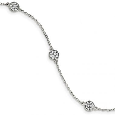 Quality Gold Sterling Silver Polished Circles with CZ Bracelet