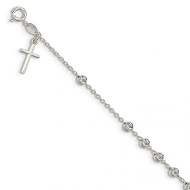 Quality Gold Sterling Silver Cross Charm Bracelet