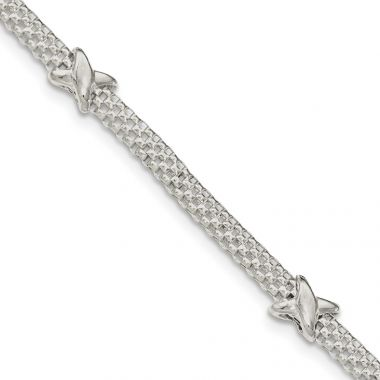 Quality Gold Sterling Silver Mesh with X's  ension Bracelet