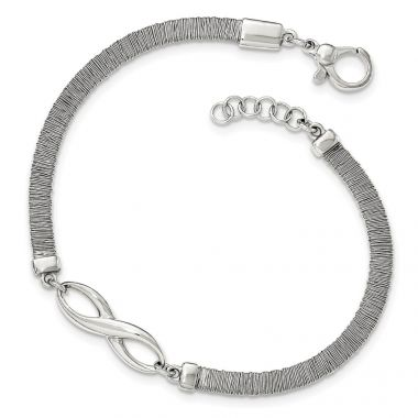 Quality Gold Sterling Silver Polished Textured Infinity Bracelet with .75in Extender