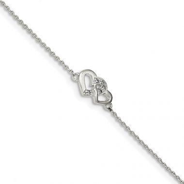 Quality Gold Sterling Silver Polished CZ Double Heart  0.5in ext. Bracelet