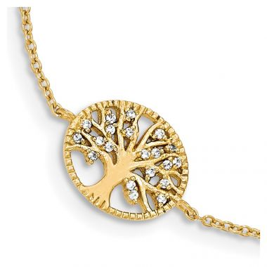 Quality Gold Sterling Silver Polished Gold-plated Tree with CZ Bracelet