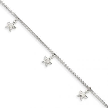 Quality Gold Sterling Silver Starfish Dangles 9 inch Anklet