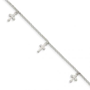 Quality Gold Sterling Silver Polished Cross Dangle Anklet