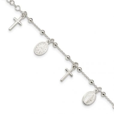 Quality Gold Sterling Silver Polished   Cross & Miraculous Medal Bracelet