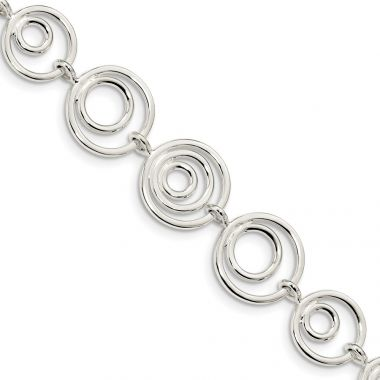 Quality Gold Sterling Silver Circle Link Bracelet