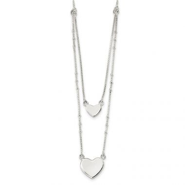 Quality Gold Sterling Silver Polished Double Heart Dangle 18in Necklace