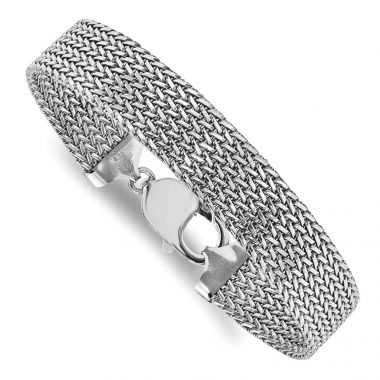 Quality Gold Sterling Silver Rhodium-plated Mesh 7.5in Bracelet