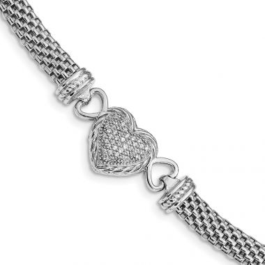 Quality Gold Sterling Silver Rhodium Plated CZ Heart Mesh Link Bracelet