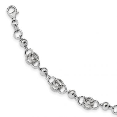 Quality Gold Sterling Silver Rhodium-plate Textured Polished Fancy .75in ext. Bracelet
