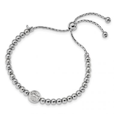 Quality Gold Sterling Silver Rhodium-plated Beaded Saint Medal 5in to 8.25in Bracelet