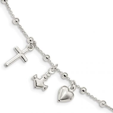Quality Gold Sterling Silver Polished   Cross Heart Anchor Bracelet