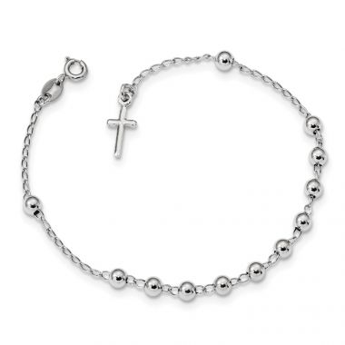 Quality Gold Sterling Silver Rhodium Plated Polished Beaded Cross Bracelet